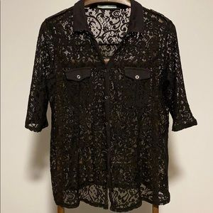 💥 4/35$  Maurices Black Lace 3/4 Sleeve Blouse